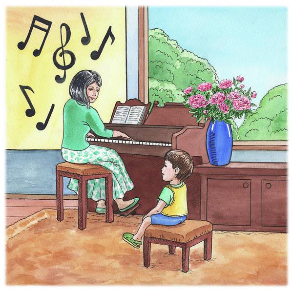 Happy Boy Painting - Boy At The Music School  by Irina Sztukowski