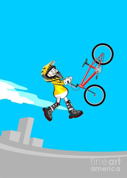 Digital Art - Boy Dressed In Yellow Jumping High In The Stadium With His Bmx Bicycle by Daniel Ghioldi