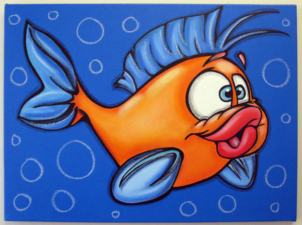 Morea Wall Art - Painting - Boy Fish by Mara Morea