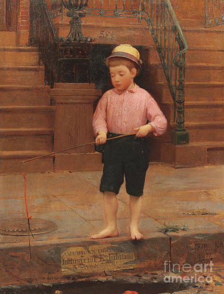 Sewer Painting - Boy Fishing At 58 And A Half East 10th Street, 1871 by Seymour Joseph Guy