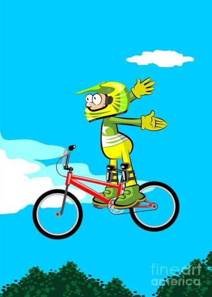 Digital Art - Boy Flying Against The Sky On His Bmx Bike by Daniel Ghioldi