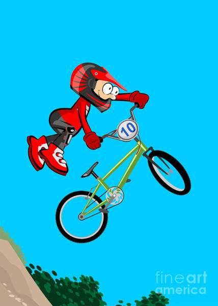 Digital Art -  Boy Flying And Jumping On His Bmx Bike by Daniel Ghioldi