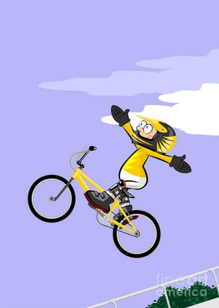 Digital Art -  Boy Flying On Bmx Bicycle With Open Arms by Daniel Ghioldi