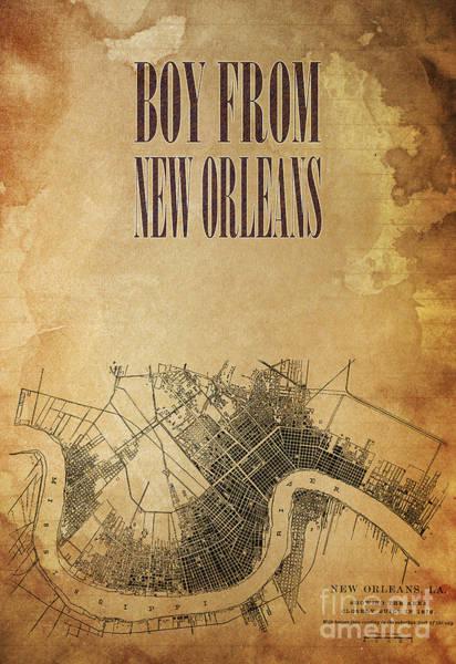 Wall Art - Digital Art - Boy From New Orleans Mid Century Map by Drawspots Illustrations