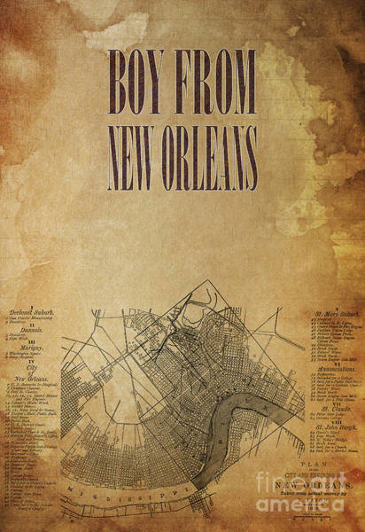 Wall Art - Drawing - Boy From New Orleans Old Map by Drawspots Illustrations
