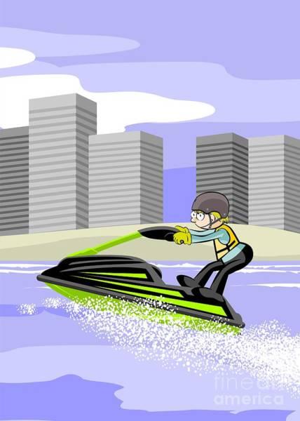Speed Boat Digital Art - Boy Having Fun With His Jet Ski On The Beach by Daniel Ghioldi