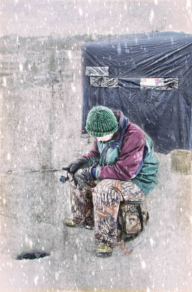 Photograph - Boy Ice Fishing  by Betty Pauwels