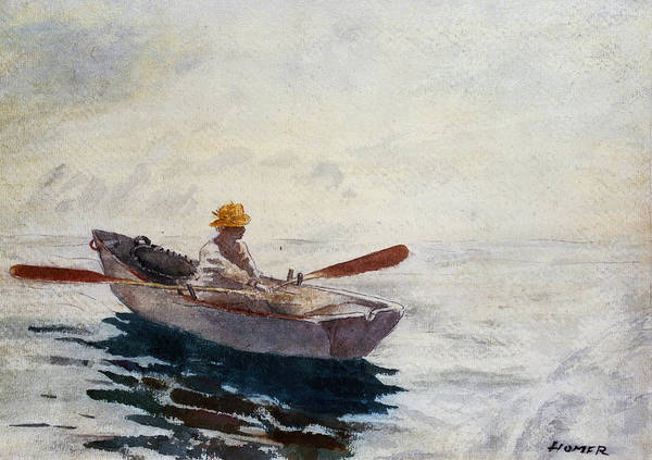 Young Boys Painting - Boy In A Boat by Winslow Homer