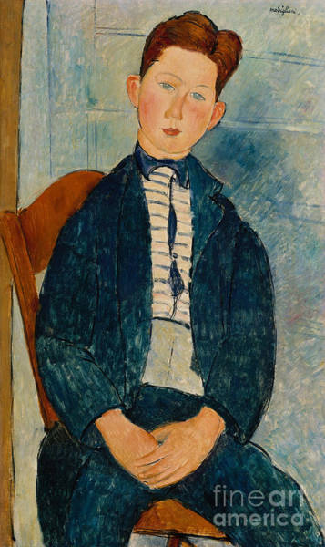 1918 Painting - Boy In A Striped Sweater, 1918 by Amedeo Modigliani