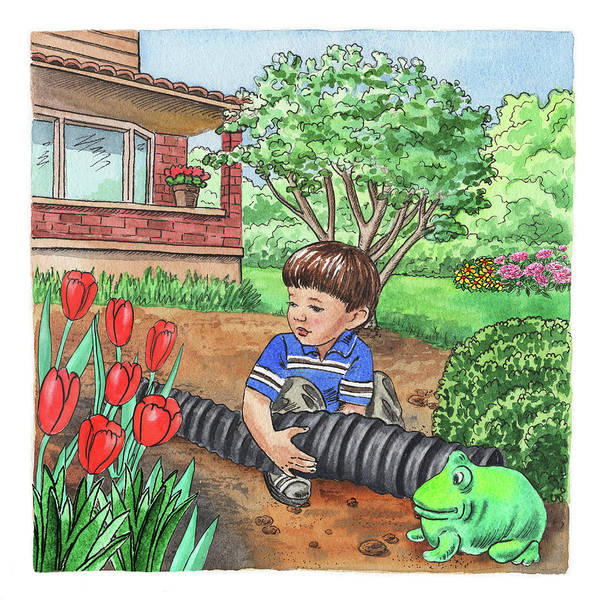 Happy Boy Painting - Boy In The Garden Helping Parents by Irina Sztukowski