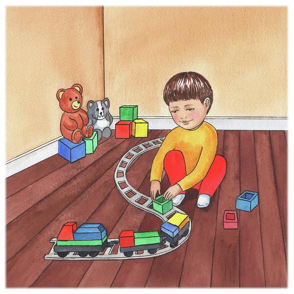 Happy Boy Painting - Boy Is Playing With Train by Irina Sztukowski