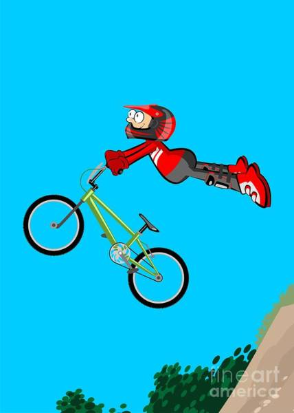 Digital Art - Boy Jumping High From An Embankment With His Bmx Bicycle by Daniel Ghioldi