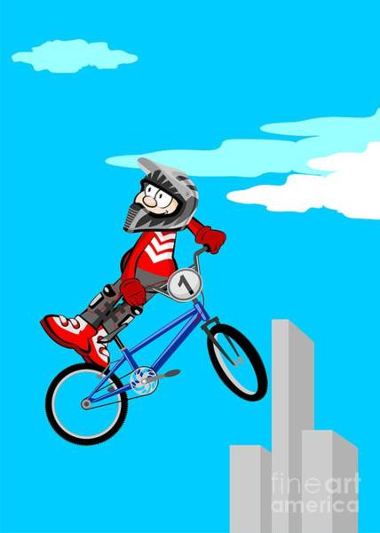 Digital Art - Boy Jumping High In The Sky With His Bmx Bicycle by Daniel Ghioldi