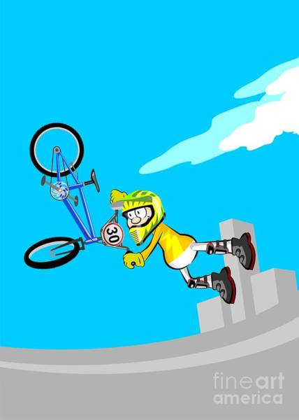 Digital Art - Boy Jumping High In The Stadium With His Bmx Bicycle Spinning The Handlebar by Daniel Ghioldi