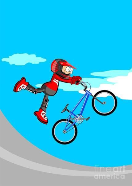 Digital Art -  Boy Jumping On A Blue Bmx Bicycle by Daniel Ghioldi