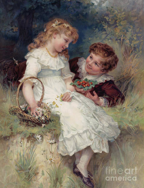 Wild Flowers Drawing - Boy Offering Wild Strawberries To His Girl Friend by English School