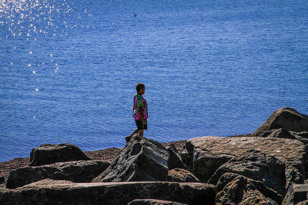 Photograph - Boy On Shore Walk by Bonnie Follett