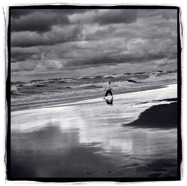 Wall Art - Photograph - Boy On Shoreline by Steve Gadomski