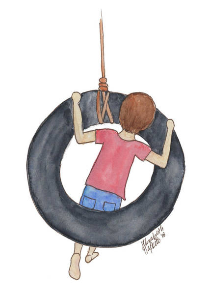 Painting - Boy On Swing 1 by Betsy Hackett