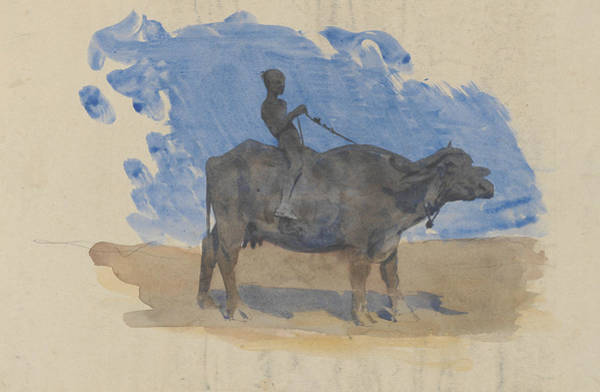 20th Century Man Drawing - Boy On Water Buffalo by John Singer Sargent