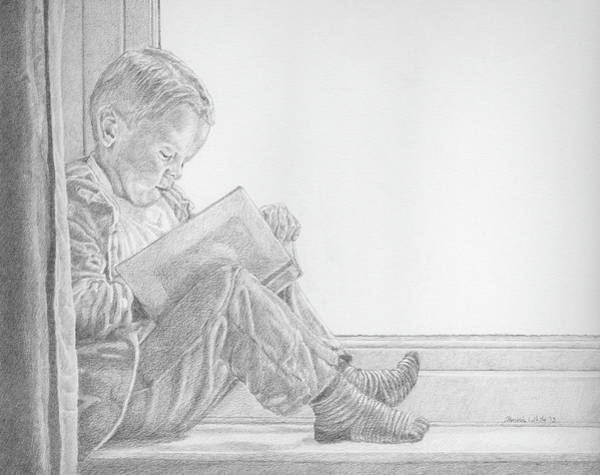 Drawing - Boy Reading In Window by Dominic White