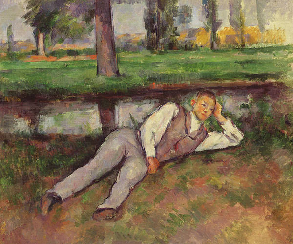 Wall Art - Painting - Boy Resting by Paul Cezanne