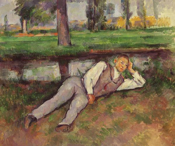 Cezanne Wall Art - Painting - Boy Resting by Paul Cezanne