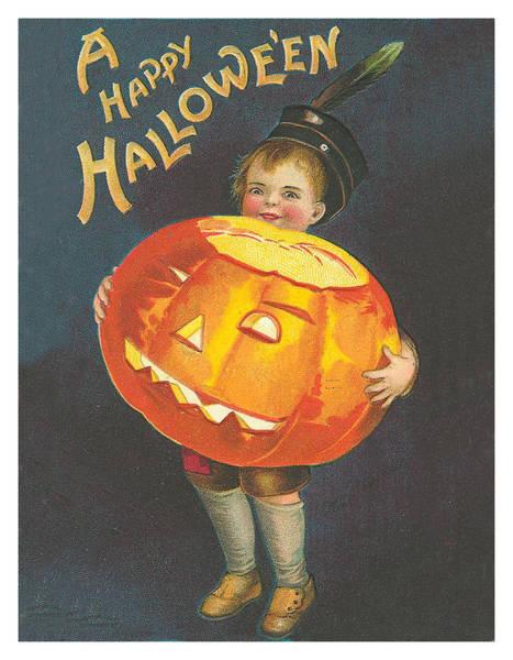 Happy Mixed Media - Boy With A Big Pumpkin by Long Shot