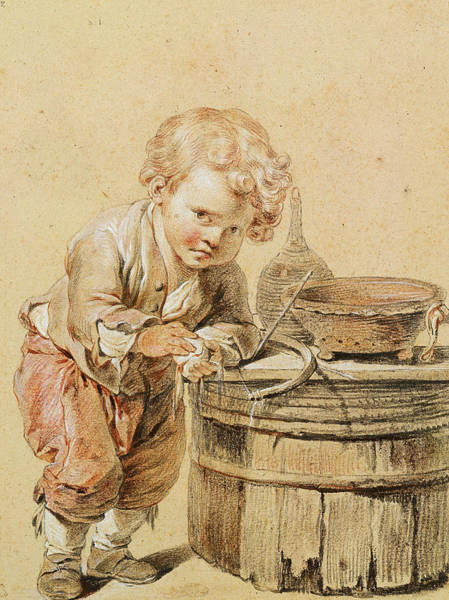Jeans Drawing - Boy With A Broken Egg by Jean-Baptiste Greuze