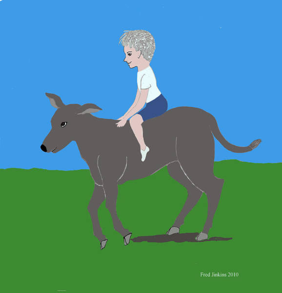 Boy With Calf Art Print by Fred Jinkins