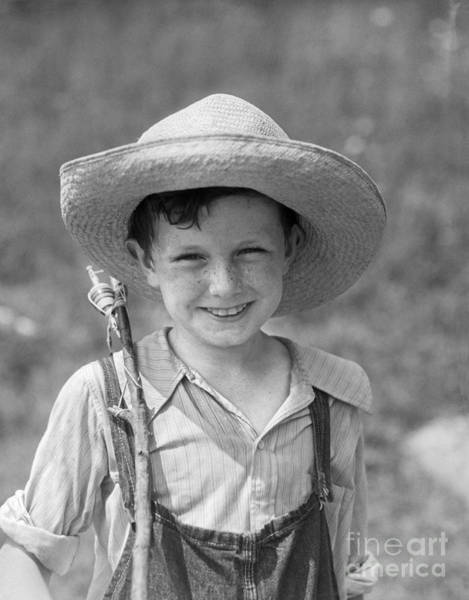 Angling Photograph - Boy With Fishing Pole, C.1930s by H. Armstrong Roberts/ClassicStock