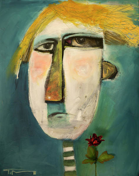 Trump Cartoon Painting - Boy With Flower by Tim Nyberg