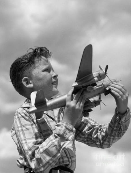 Photograph - Boy With Model Airplane, C. 1940s by H. Armstrong Roberts/ClassicStock