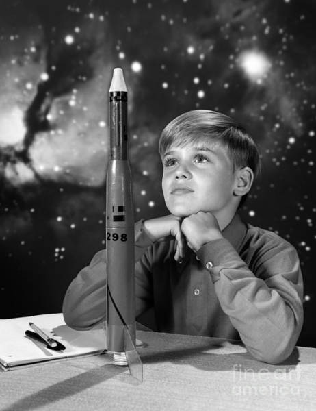 Photograph - Boy With Model Rocket, C.1960s by H Armstrong Roberts ClassicStock