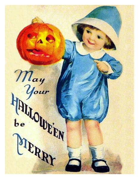 Happy Mixed Media - Boy With Pumpkin by Long Shot