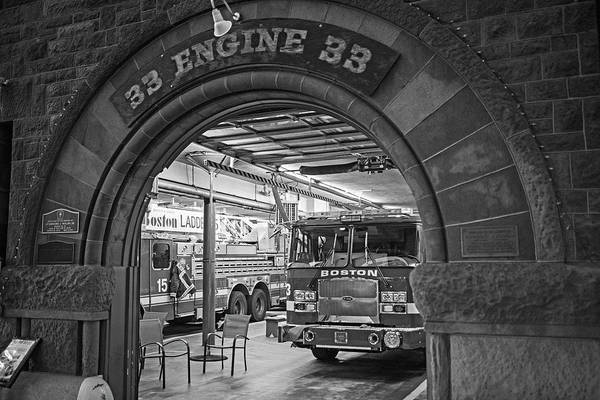 Photograph - Boylston Street Fire Station Boston Ma Engine 33 Black And White by Toby McGuire