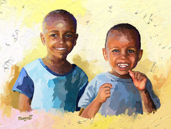 Casual Painting - Boys by Anthony Mwangi