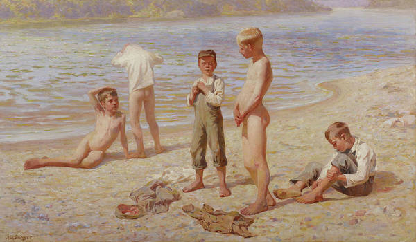 Wall Art - Painting - Boys Bathing by Alexander Grinager