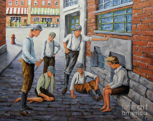 Wall Art - Painting - Boys In New York 1900 by Richard T Pranke