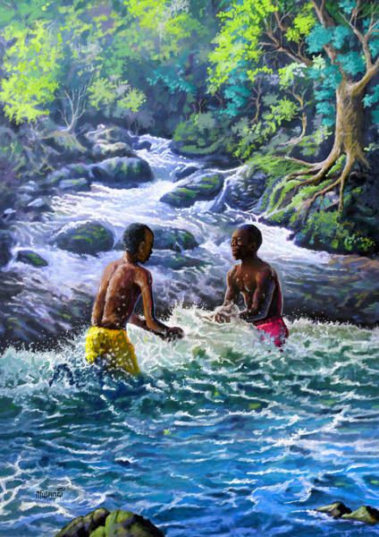 Daring Painting - Boys In Their Element by Anthony Mwangi