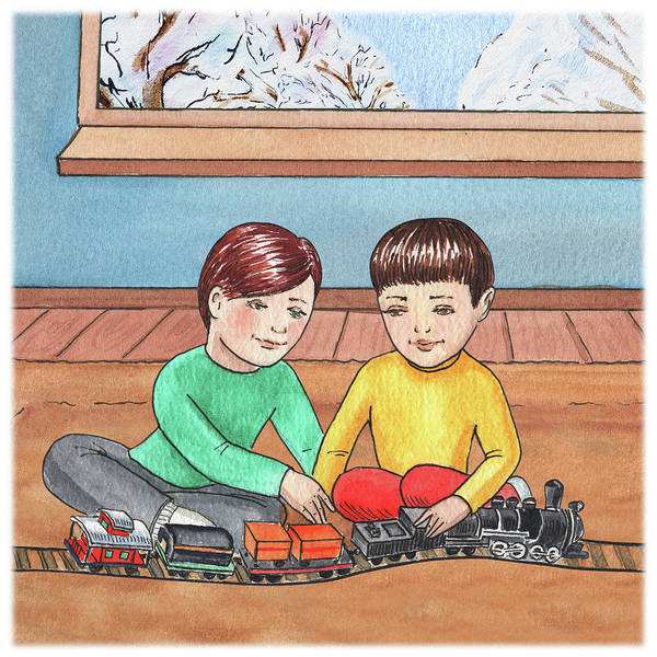 Trains Painting - Boys Like Trains by Irina Sztukowski