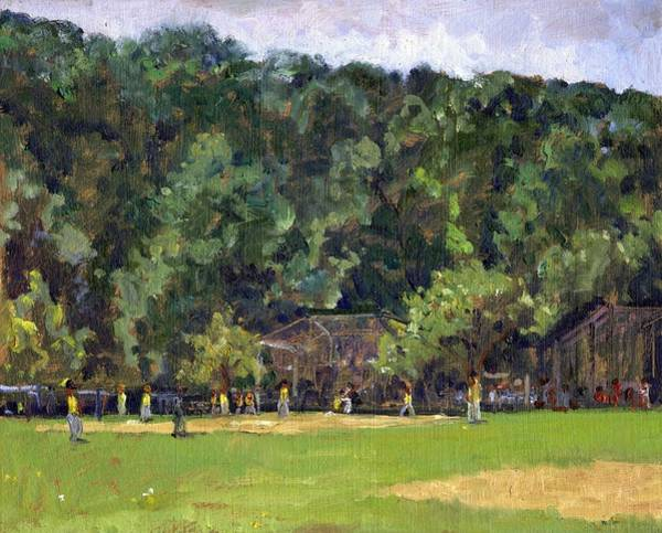 Painting - Boys Of Summer Baseball In Inwood Nyc 8x10 Original Plein Air Impressionist Fine Art by Thor Wickstrom