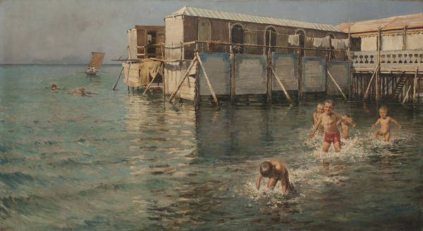 Painting - Boys Swimming by Celestial Images