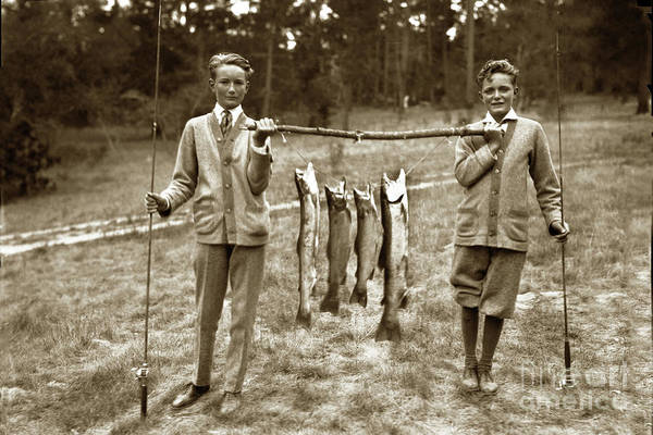 Photograph - Boys With A Line Carmel River Steelhead Cought In The Carmel Riv by California Views Archives Mr Pat Hathaway Archives
