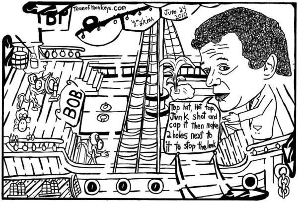 Petroleum Drawing - Bp Ceo Tony Hayward Fixing A Leak On His Boat. By Yonatan Frimer by Yonatan Frimer Maze Artist