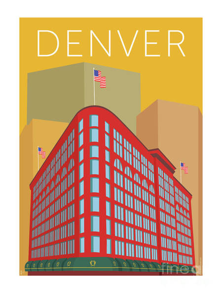 Digital Art - Denver Brown Palace/gold by Sam Brennan
