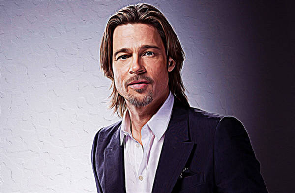 Child Actress Painting - Brad Pitt by Queso Espinosa