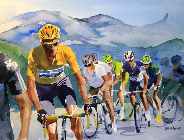 Le Tour De France Wall Art - Painting - Brad Wiggins In Yellow by Shirley  Peters