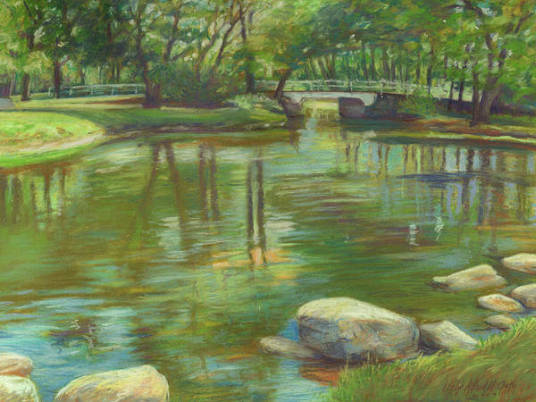 Wall Art - Painting - Bradford Ma College Pond by Leslie Alfred McGrath