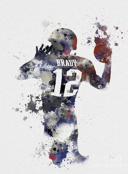 Football Players Wall Art - Mixed Media - Brady by My Inspiration
